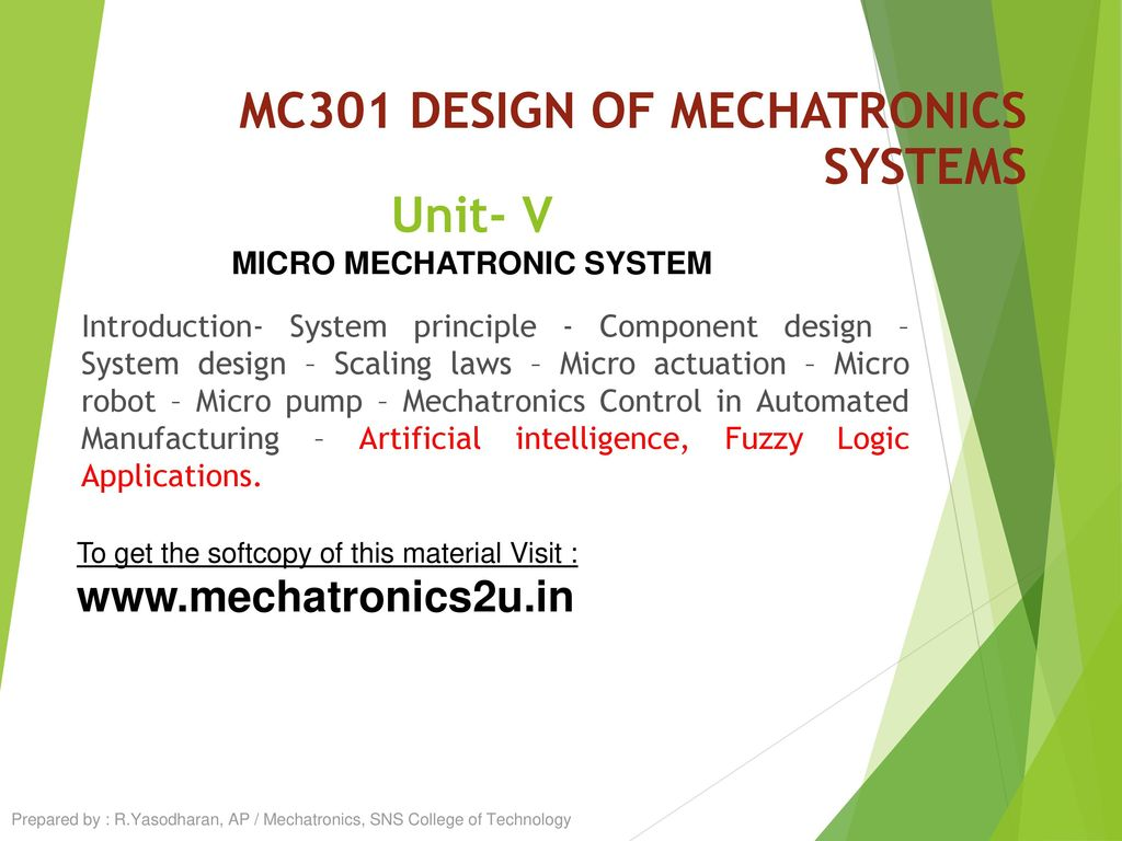Mc301 Design Of Mechatronics Systems Ppt Download