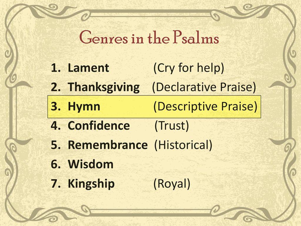 Old Testament Poetry & Wisdom Literature Week 6  Hymns of