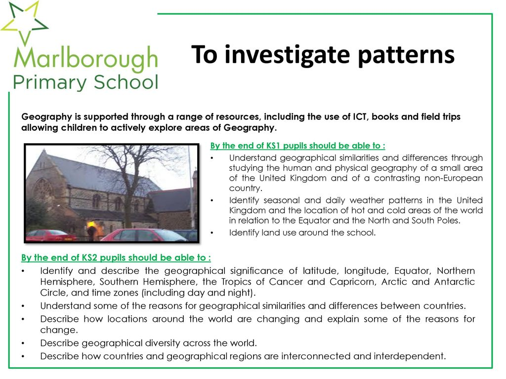 Geography at marlborough primary school ppt download 4 to investigate patterns gumiabroncs Choice Image