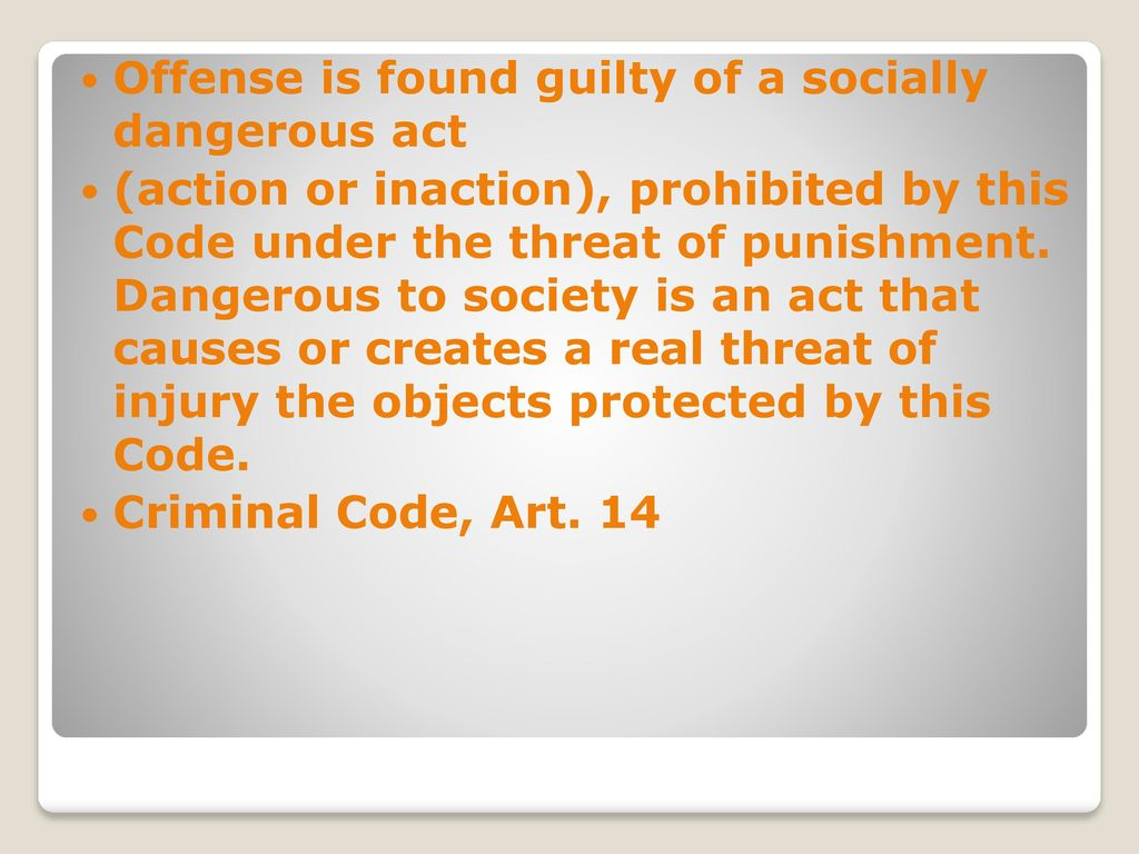 What is the objective and subjective side of the crime, and what is the object and subject of the crime