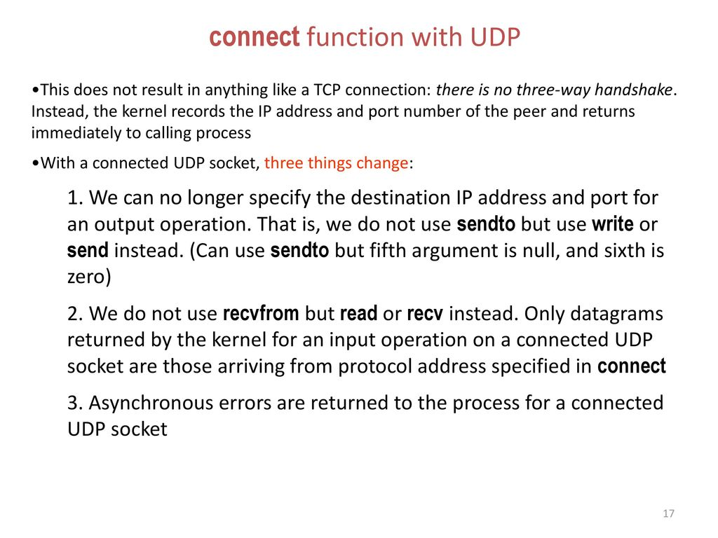 connect function with UDP