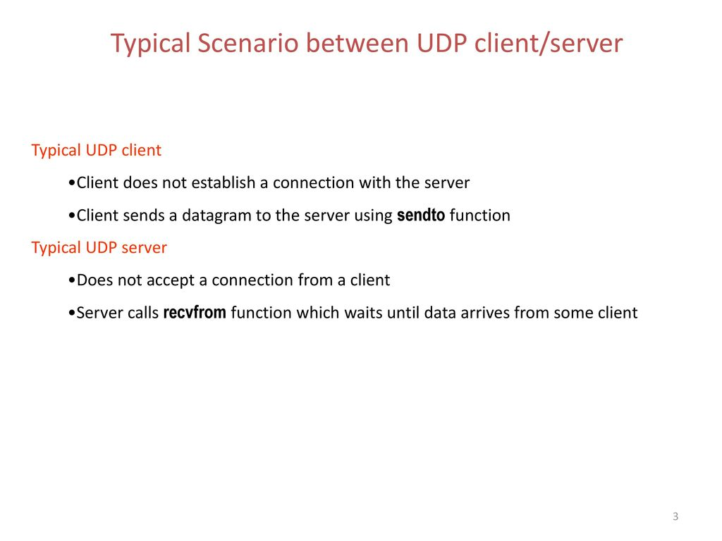 Typical Scenario between UDP client/server