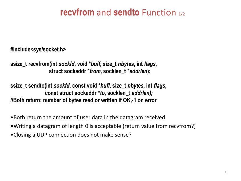 recvfrom and sendto Function 1/2