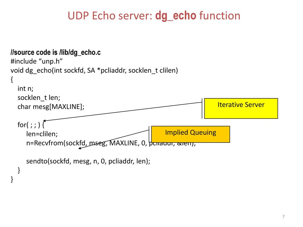 UDP Echo server: dg_echo function