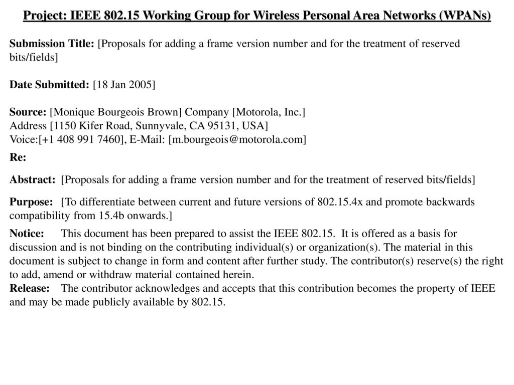 Project: IEEE Working Group for Wireless Personal Area Networks (WPANs)
