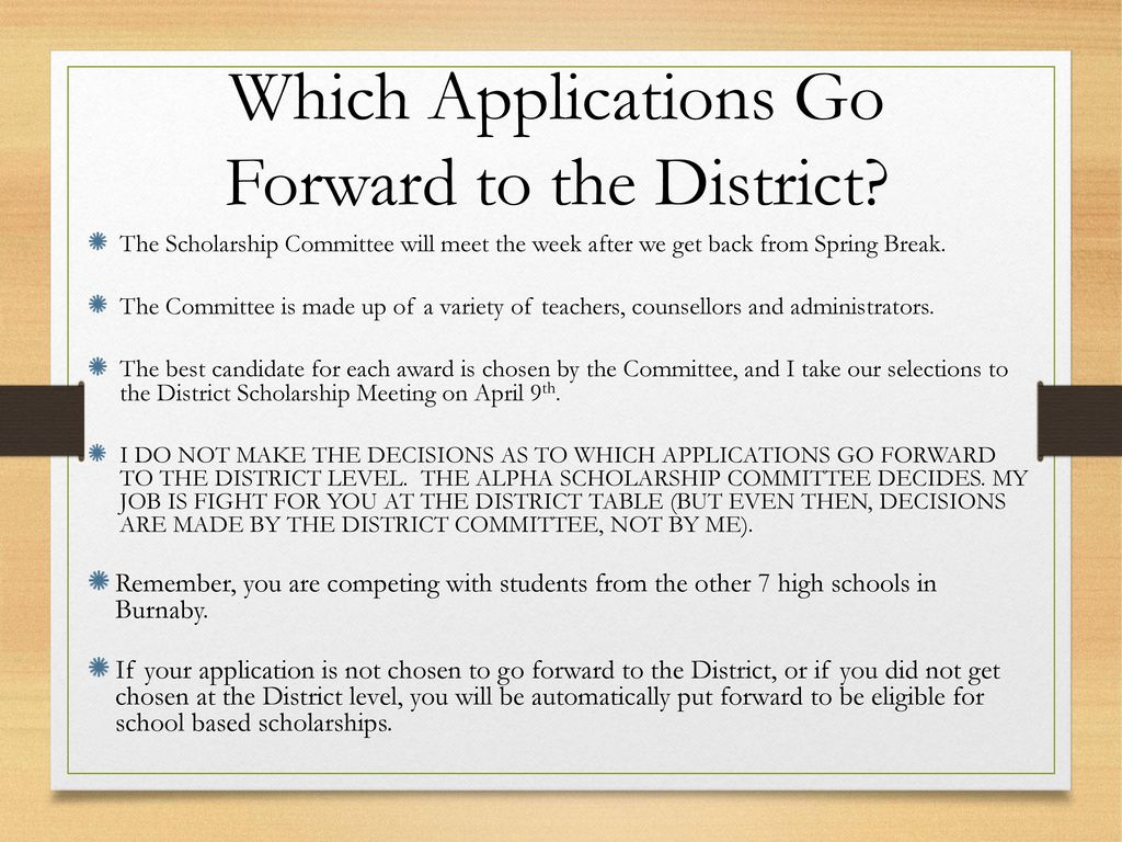 Which Applications Go Forward to the District