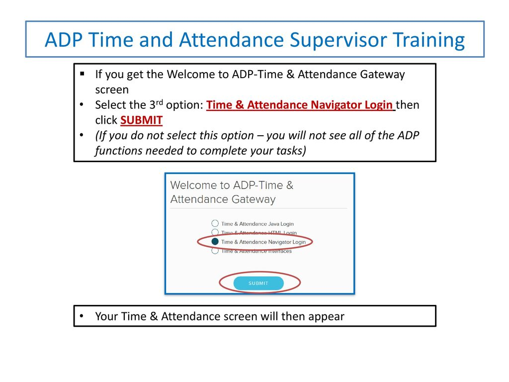 ADP Time and Attendance SUPERVISOR PRESENTATION Recording