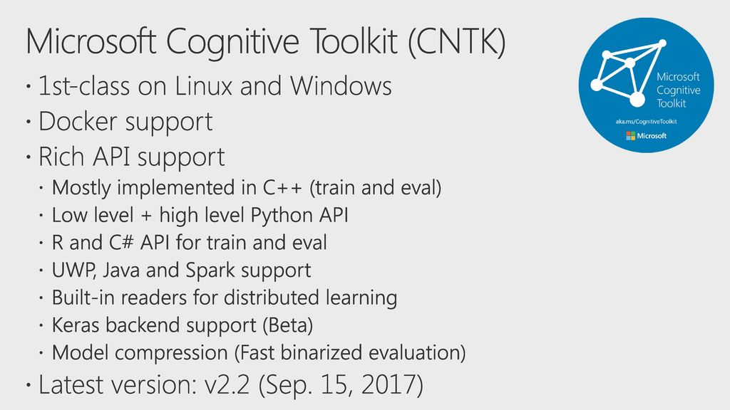 Deep Dive with Microsoft Cognitive Toolkit (CNTK) - ppt download