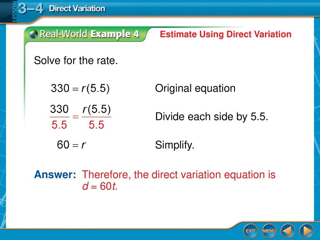 lesson 3–4 direct variation. - ppt download
