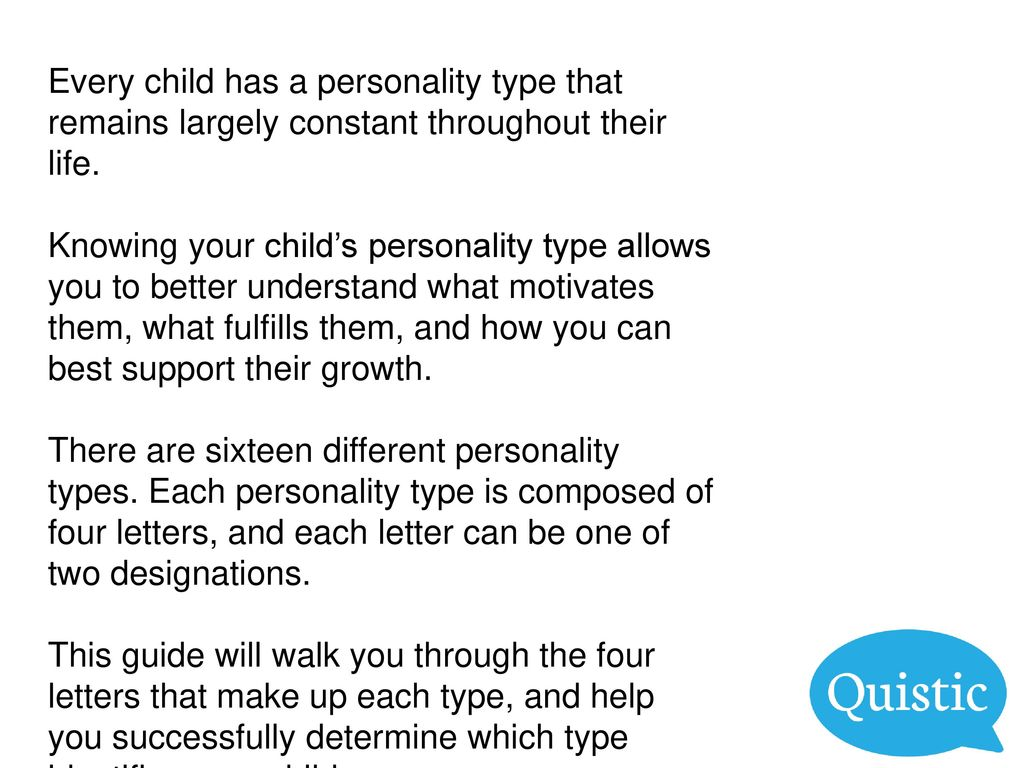 Your Child's Personality Type - ppt download