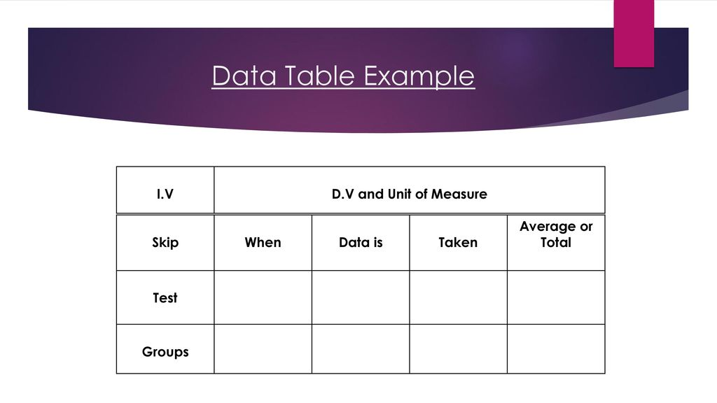 How to make a data table Learning Target Goal: - ppt download
