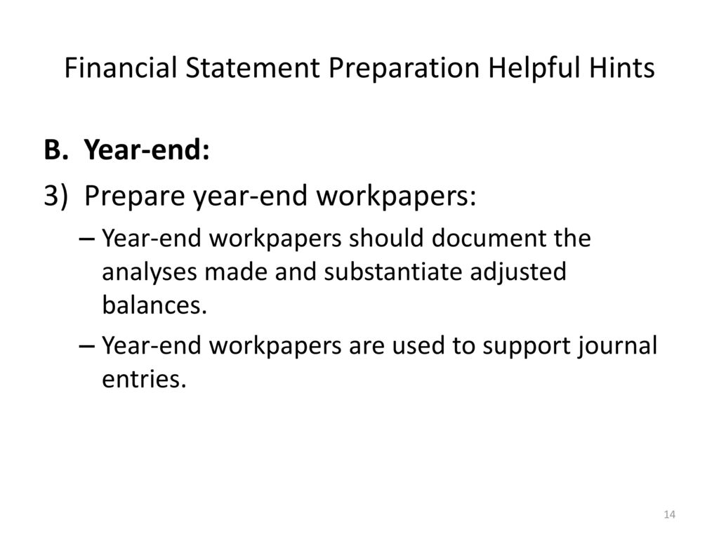 Financial Statement Preparation Helpful Hints - ppt download