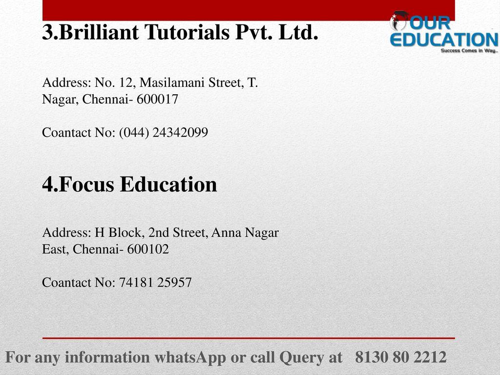 Brilliant tutorials t. Nagar, chennai reviews, fee structure.