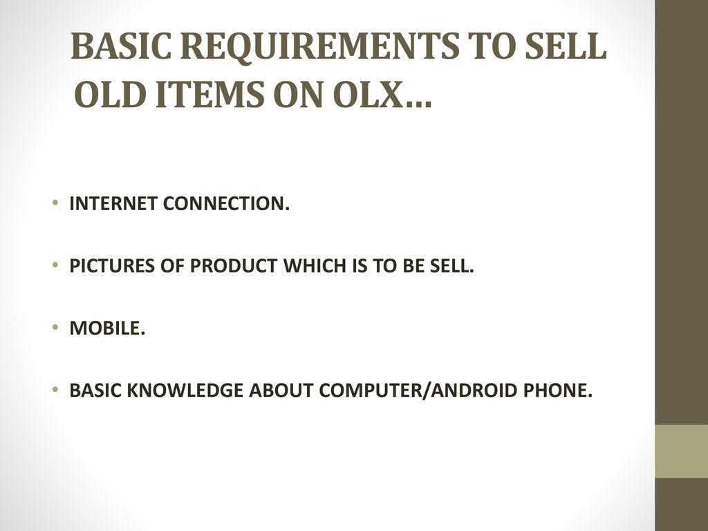SELL OLD ITEMS ONLINE ON OLX - ppt download