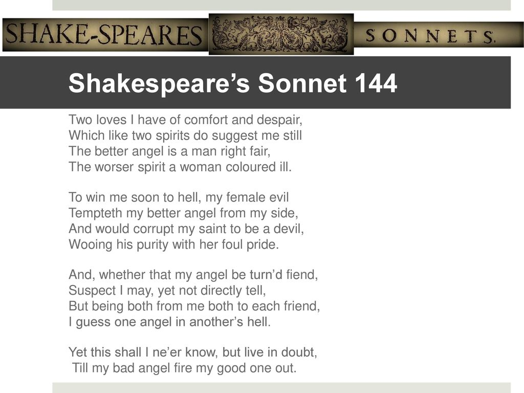 shakespeare sonnet 144