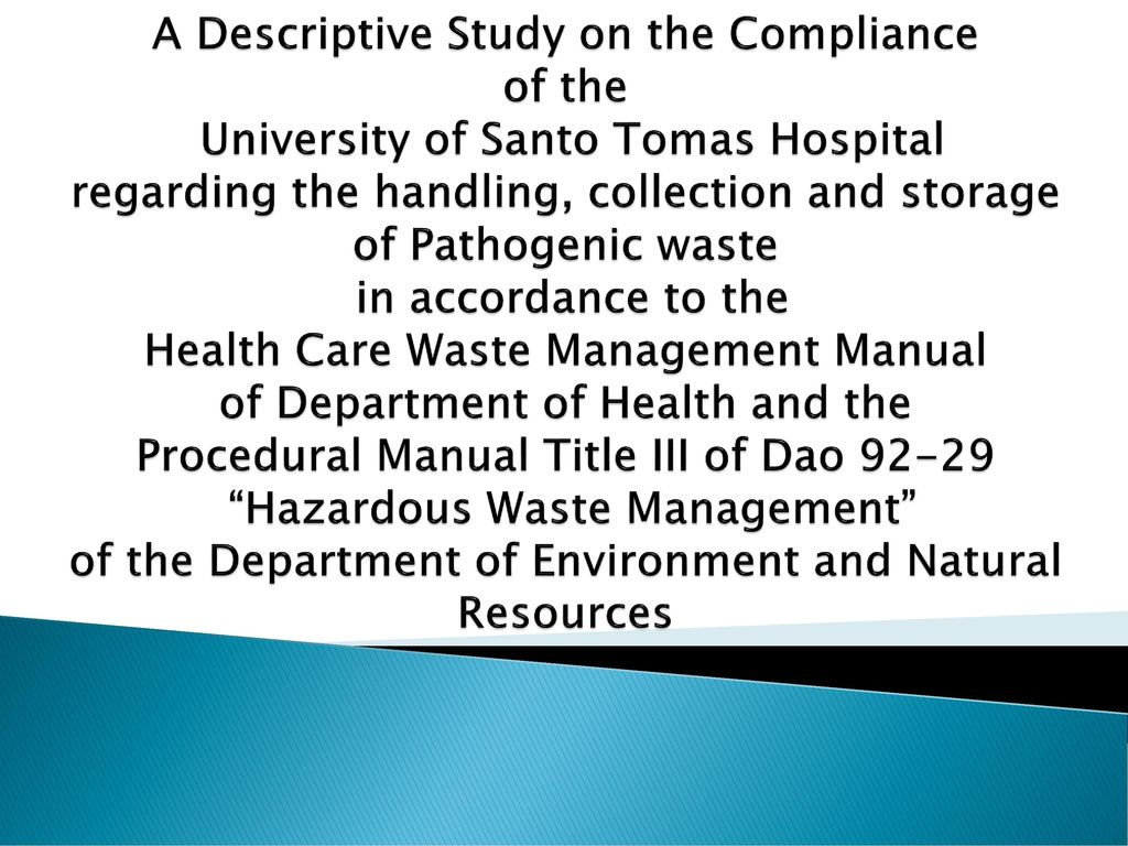 A Descriptive Study on the Compliance of the University of