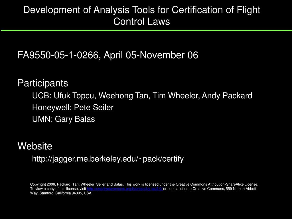 Development Of Analysis Tools For Certification Of Flight Control