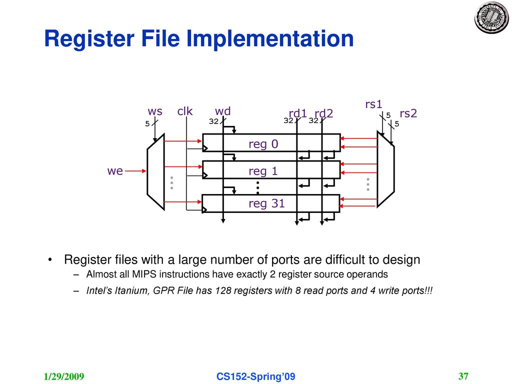 Krste Asanovic Electrical Engineering And Computer Sciences Ppt Rdi Refrigeration Unit Wiring Diagrams 37 Register File Implementation