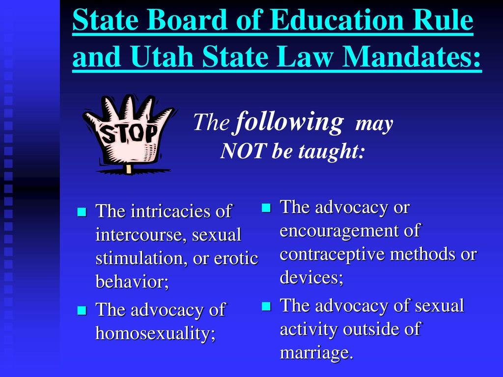 Utah laws on sex education