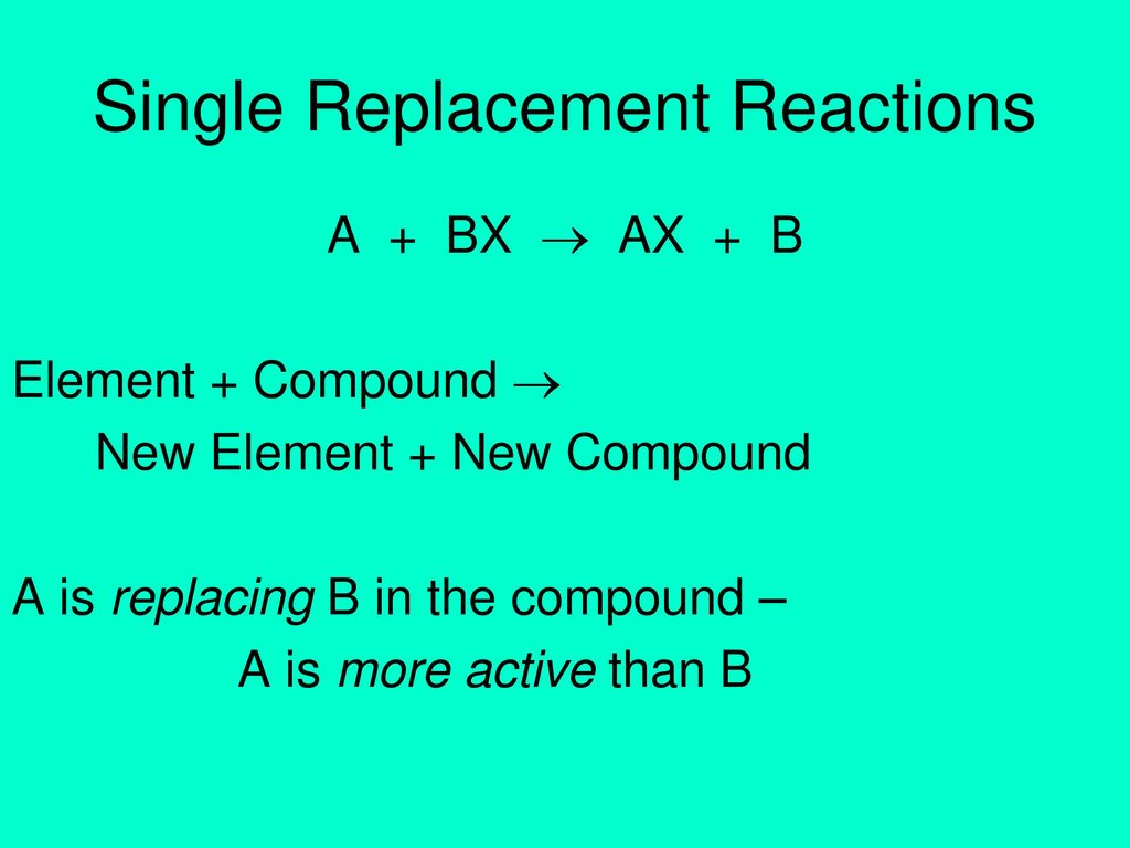A Word About Single Replacement Reactions Ppt Download