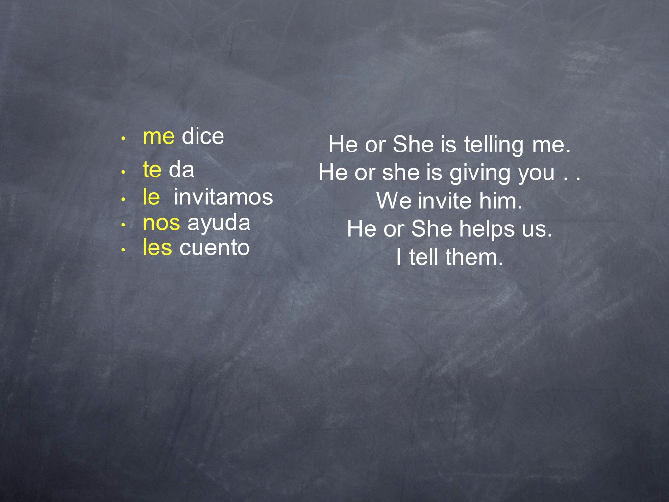 me dice te da. le invitamos. nos ayuda. les cuento. He or She is telling me. He or she is giving you . .