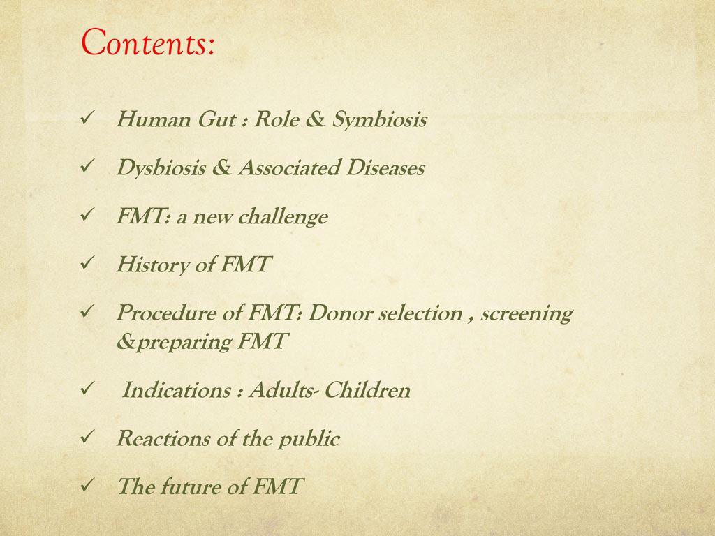 Fecal Microbiota Transplantation (FMT) in Pediatrics - ppt