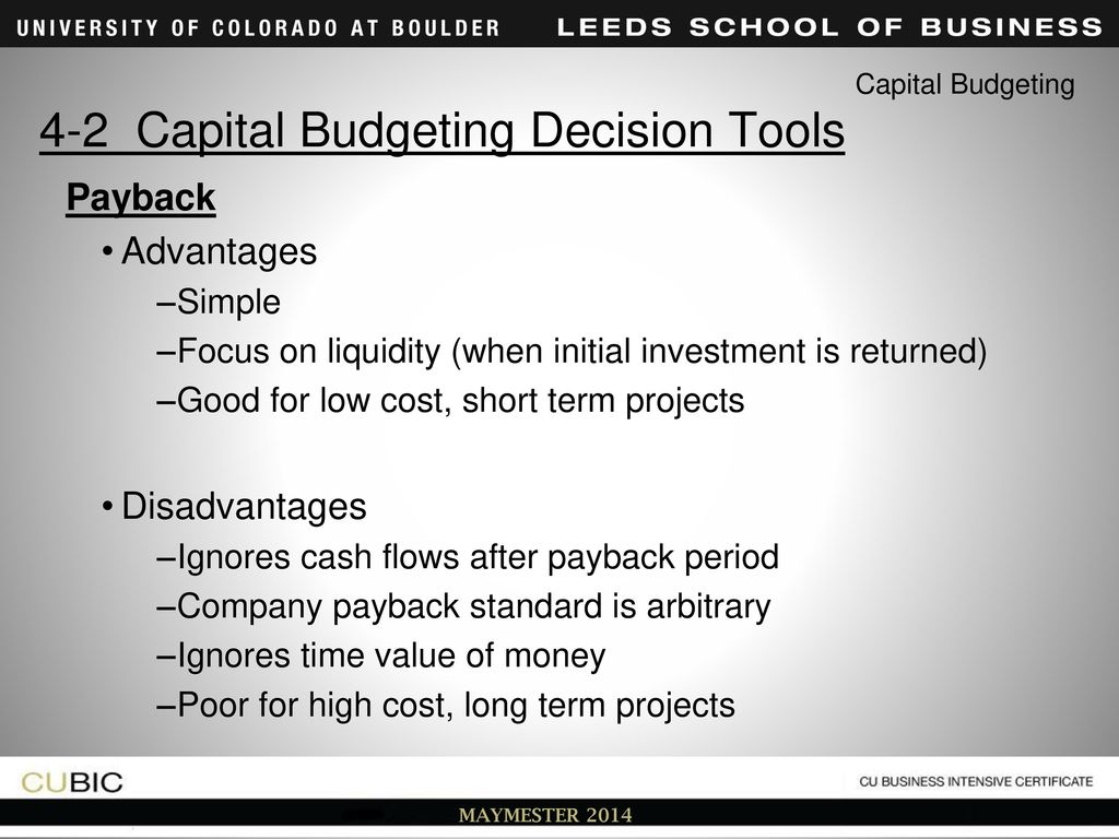 Payback period and other investment tools 58