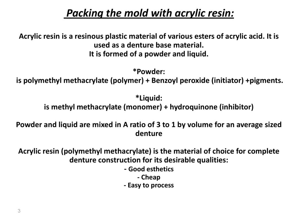 Mixing and packing of acrylic dough - ppt download