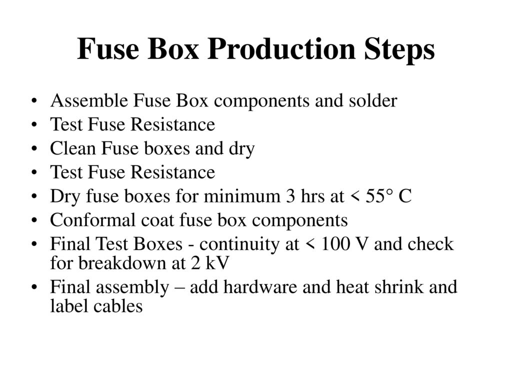 3 Fuse Box Production Steps
