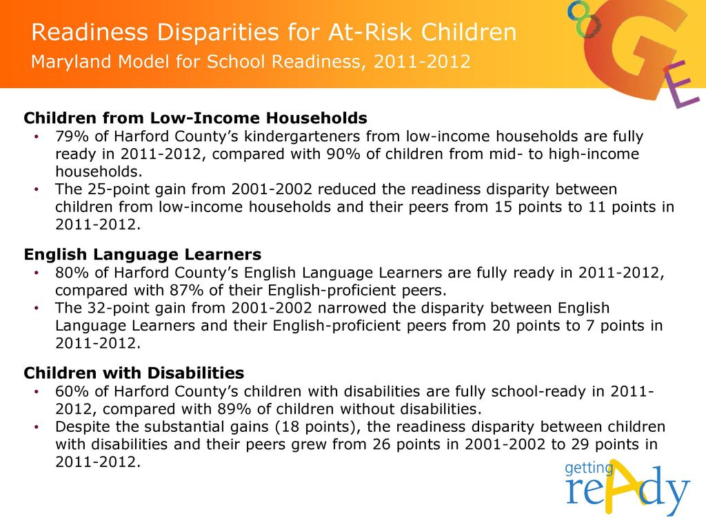 Readiness Disparities for At-Risk Children Maryland Model for School Readiness,