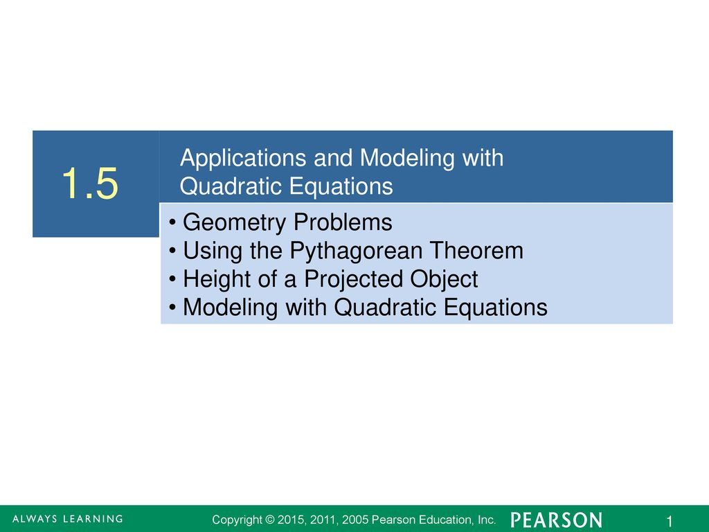 1.5 Applications and Modeling with Quadratic Equations - ppt download