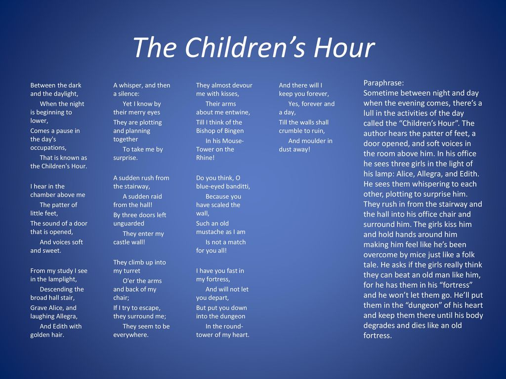 Henry Wadsworth Longfellow Ppt Download Paraphrase Of The Children Hour