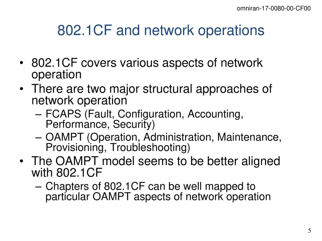 Relation between information modeling and network operation