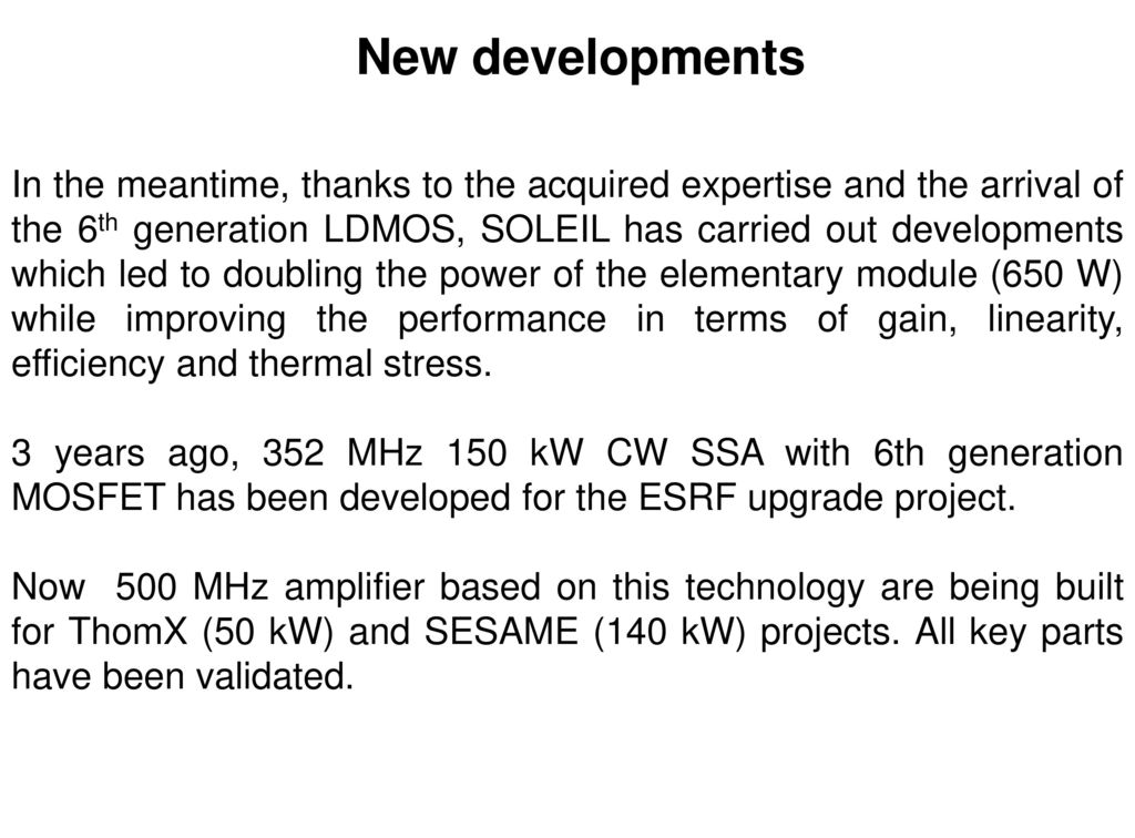 Developments of High CW RF Power Solid State Amplifiers at SOLEIL