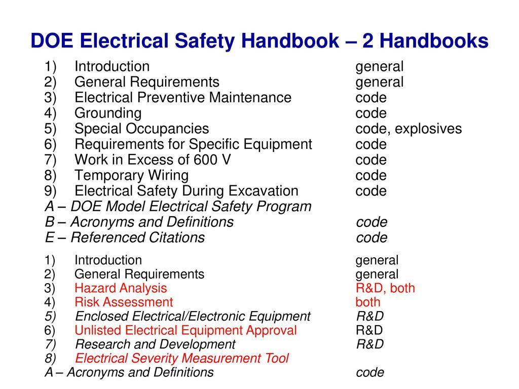Doe Electrical Safety Handbook Ppt Download Wiring 2 Handbooks