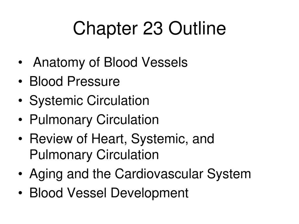 Chapter 23 Outline Anatomy Of Blood Vessels Blood Pressure Ppt