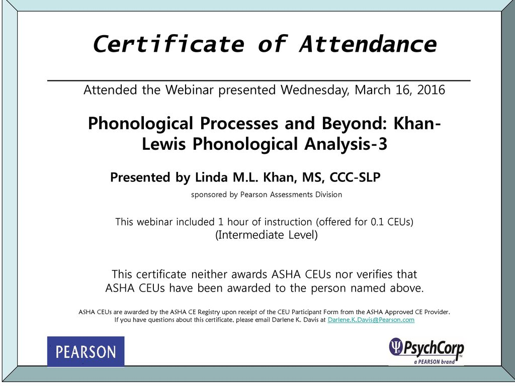 Certificate Of Attendance Ppt Download