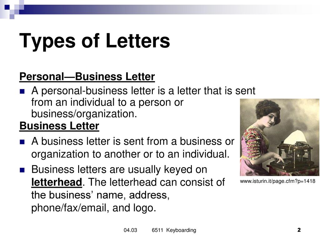 types of letters personalbusiness letter