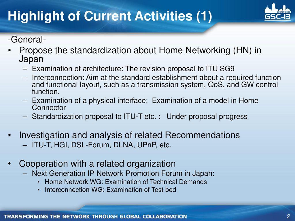 Home Networking activities in TTC - ppt download