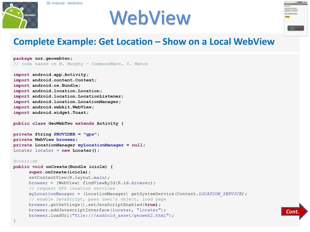 Designing Apps Using The WebView Control - ppt download