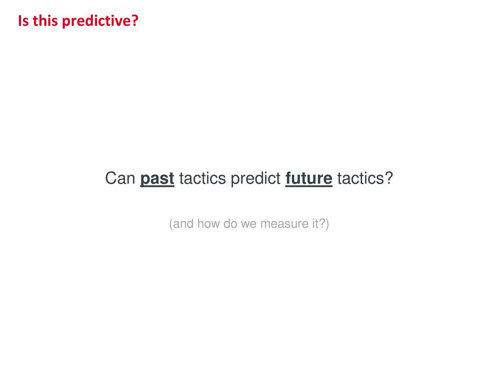 Can past tactics predict future tactics