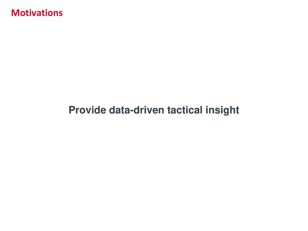 Provide data-driven tactical insight