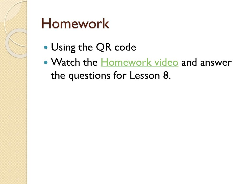 Homework Using The Qr Code Ppt Download