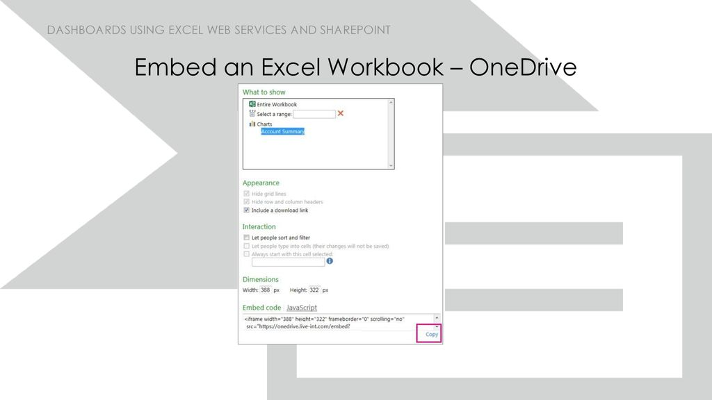 Dashboards using Excel Web Services and SharePoint - ppt