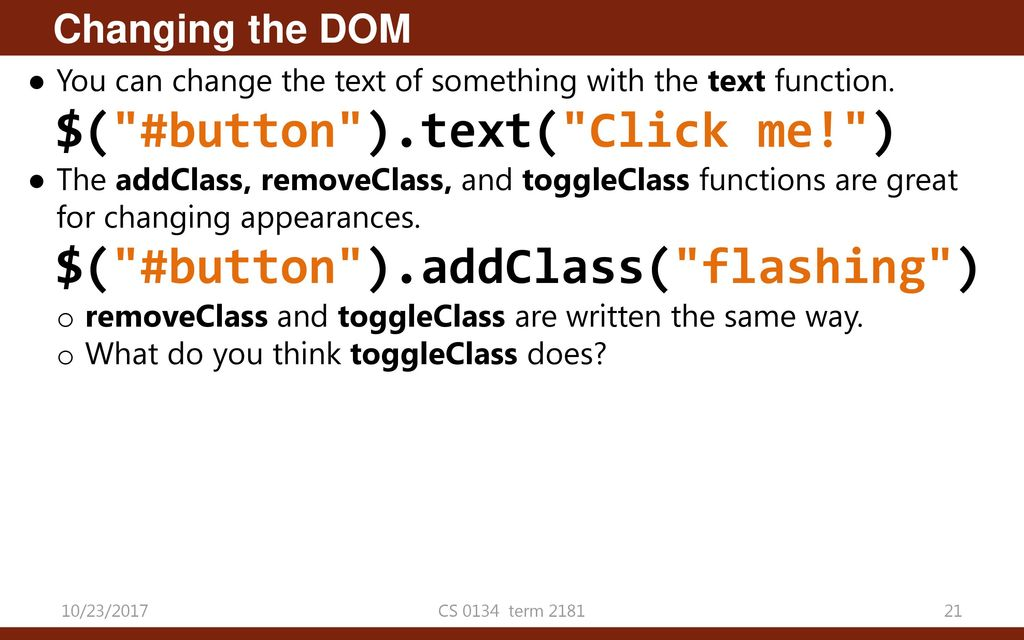 Add Class Using Dom