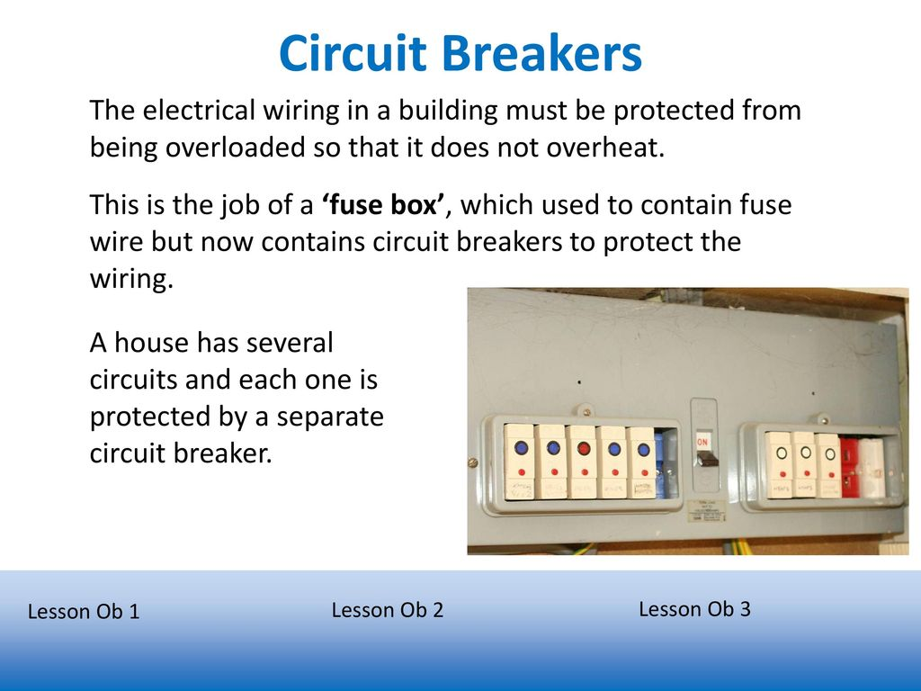 Electrical Safety Describe And Explain How A Fuse Works As House Wiring It Circuit Breakers The In Building Must Be Protected From Being Overloaded So That