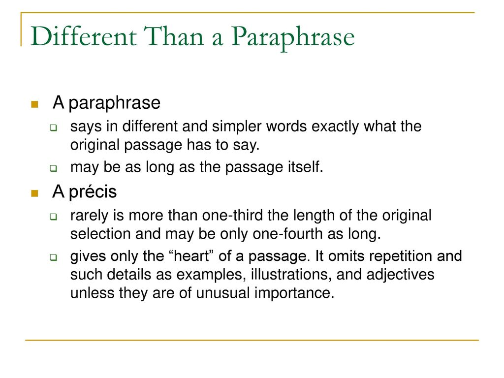 Writing A Preci An Essential Part Of Research Ppt Download Difference Between Paraphrase And Summary