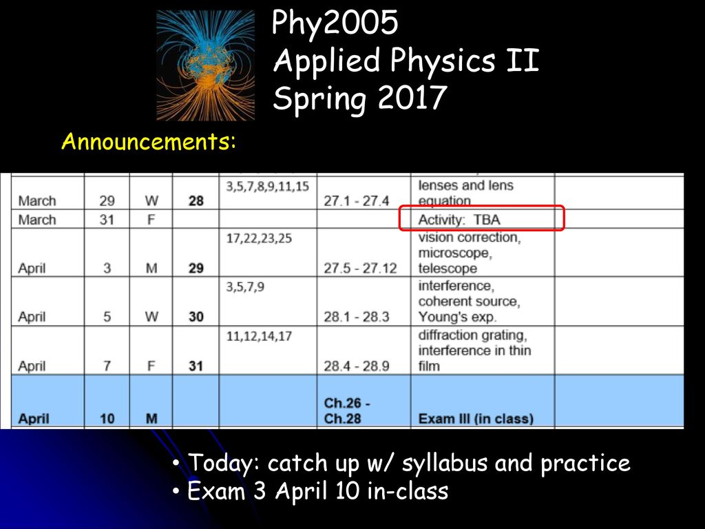 Phy2005 Applied Physics II Spring 2017 Announcements: - ppt download