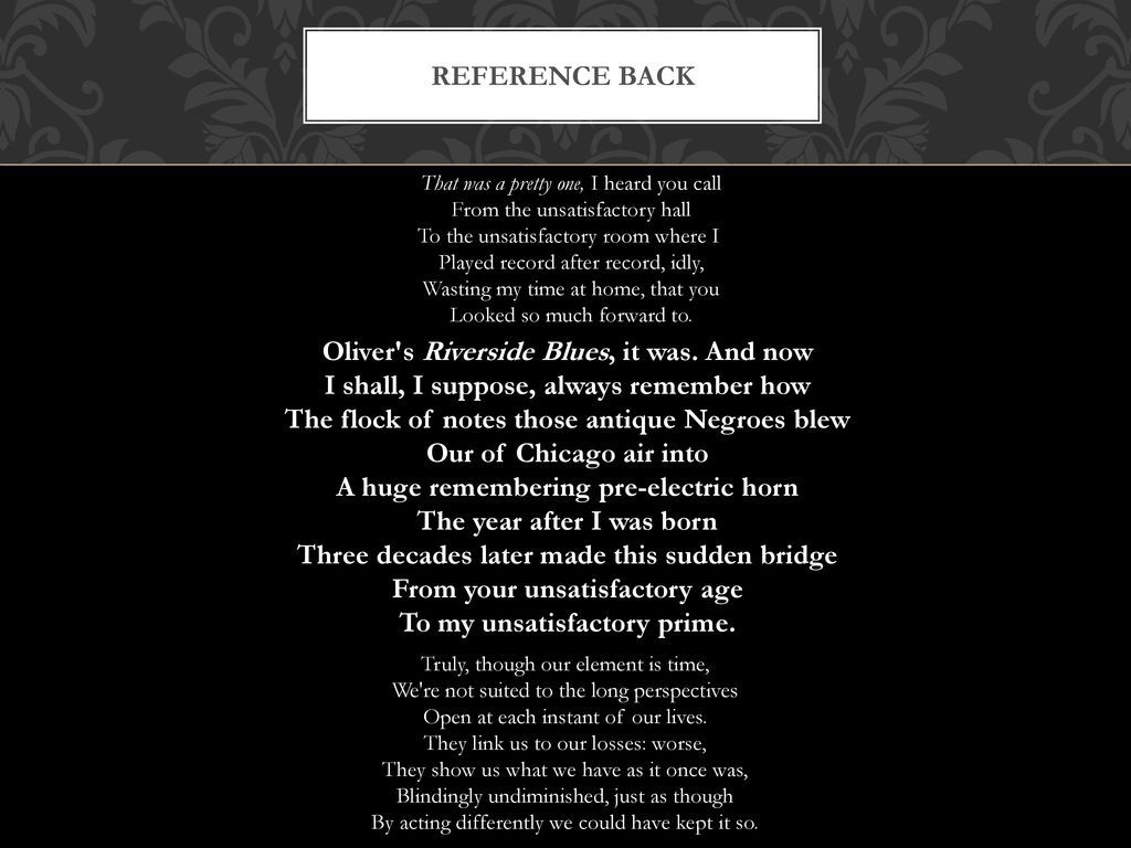 reference back philip larkin