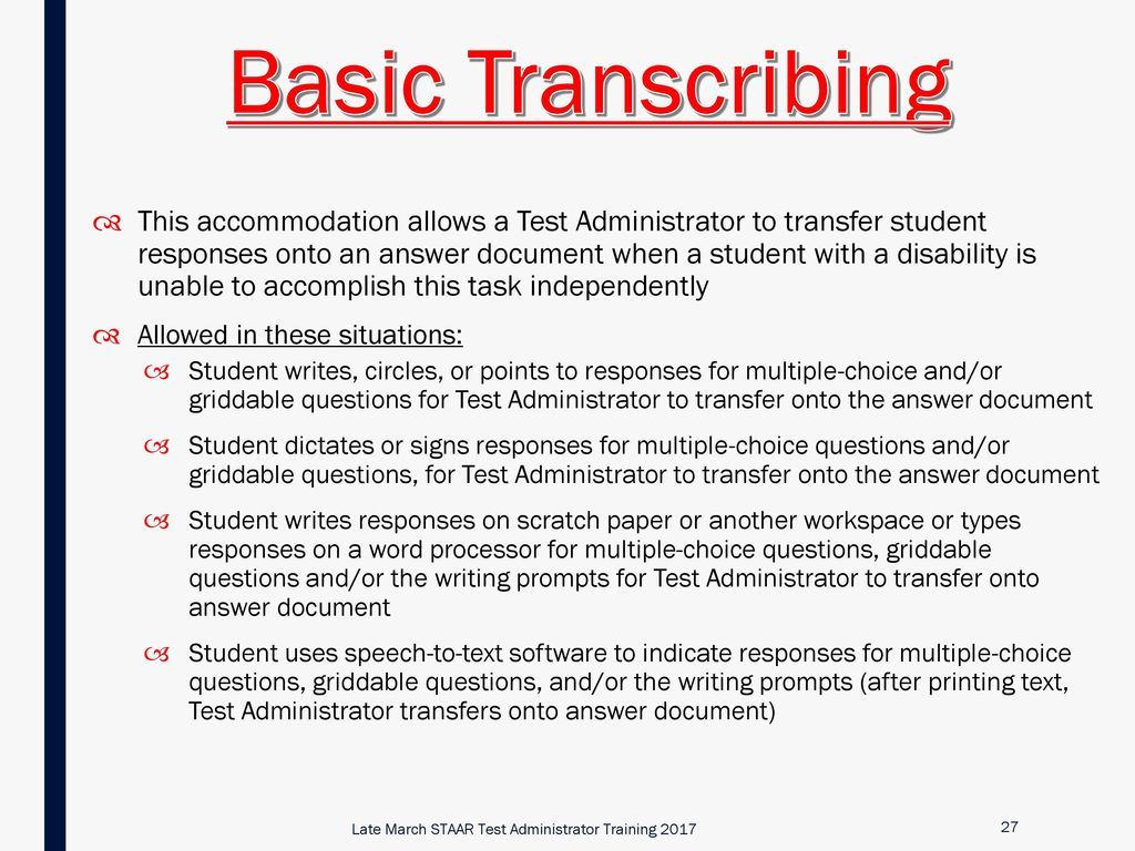 Late March STAAR Test Administrator Training - ppt download